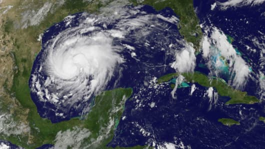 Tropical Storm Harvey is seen approaching the Texas Gulf Coast, in this NOAA GOES East satellite image taken at 10:07 ET, August 24, 2017.