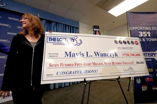 Mavis L. Wanczyk is announced as the winner of the $758.7 Million Powerball Jackpot in Braintree, Massachusetts