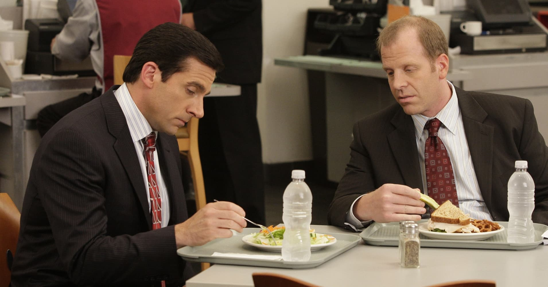 Steve Carell as Michael Scott and Paul Lieberstein as Toby Flenderson in The Office.
