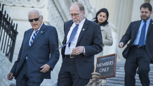 From left, Reps. Bill Pascrell, D-N.J., Dave Loebsack, D-Iowa, Nanette Barragan, D-Calif., and Ruben Gallego, D-Ariz., descend the House Steps of the Capitol after a vote on May 3, 2017.