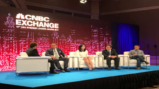 Indonesian banking executives speak on a panel hosted by CNBC in August, 2017.