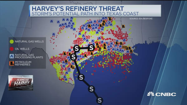 Oil markets on edge as Harvey intensifies in Gulf