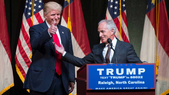 In this July 2016 file photo, then-Republican Presidential candidate Donald Trump, left, and Sen. Bob Corker, R-Tenn., appear on stage during a rally at the Duke Energy Center in Raleigh, N.C.