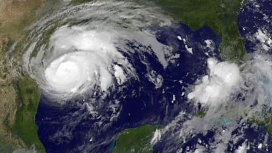 Hurricane Harvey is seen approaching the Texas Gulf Coast, in this NOAA GOES East satellite image taken at 7:07 ET (11:37 GMT) August 25, 2017.