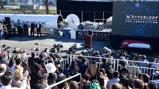 SpaceX CEO Elon Musk introduces pods entering the hyperloop test track at the last competition in January 2017