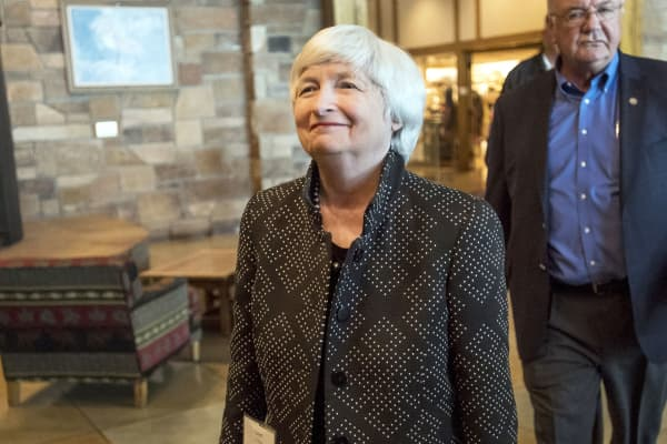 Janet Yellen, chair of the U.S. Federal Reserve, arrives for a dinner during the Jackson Hole economic symposium, sponsored by the Federal Reserve Bank of Kansas City, in Moran, Wyoming, on Thursday, Aug. 24, 2017.