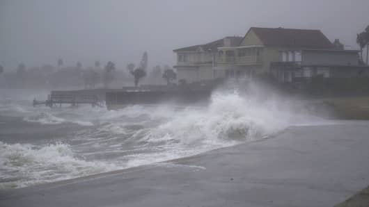 Waves pound the shore from approaching Hurricane Harvey on August 25, 2017 in Corpus Christi, Texas.