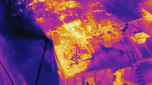 Thermal cameras on drones tell firefighters what parts of the fire they need to target first.