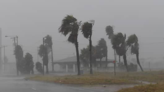 Strong winds batter a house on Padre Island before the approaching Hurricane Harvey in Corpus Christi, Texas on August 25, 2017.