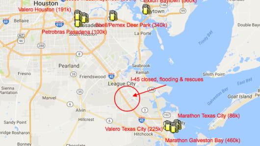 Hurricane Harvey refineries shutting down