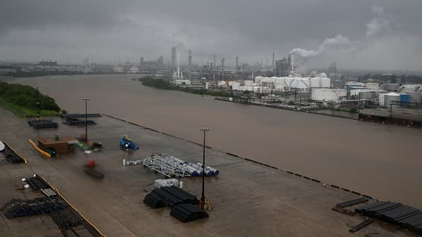 The refinery section of the Houston Ship Channel is seen as flood water rise on August 27, 2017 as Houston battles with tropical storm Harvey and resulting floods.
