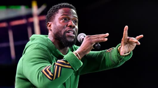 Comedian Kevin Hart performs on the Colossal Stage during the 2017 Colossal Clusterfest at Civic Center Plaza and The Bill Graham Civic Auditorium on June 2, 2017 in San Francisco.