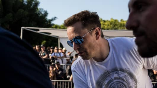 Elon Musk at the Hyperloop student competition at the SpaceX headquarters