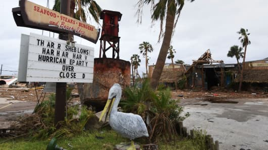A damaged restaurant on the main street after Hurricane Harvey hit Port Aransas, Texas, on Aug. 27, 2017.