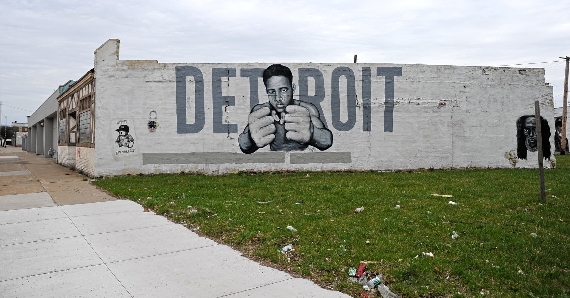 Art is placed on the front of the majority of the abandoned houses in Detroit neighborhoods