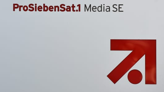 The logo of German television group ProSiebenSat1 is seen at the company's headquarters in Unterfoehring near Munich, southern Germany, on March 9, 2016.