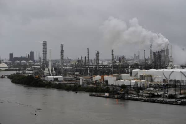 The Valero Houston Refinery is threatened by the swelling waters of the Buffalo Bayou after Hurricane Harvey inundated the Texas Gulf coast with rain, in Houston, Texas, August 27, 2017.