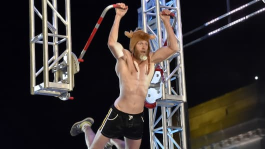 "Morgan ""Moose"" Wright competing in the Kansas CIty finals of NBCU's ""American Ninja Warrior."""