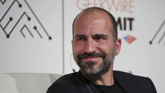 Dara Khosrowshahi, Uber's pick for CEO, listens during the GeekWire Summit in Seattle, Washington, U.S., on Tuesday, Oct. 4, 2016.
