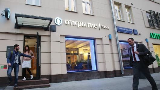 A branch of Otkritie Bank, one of Russia's biggest private lenders, in central Moscow.