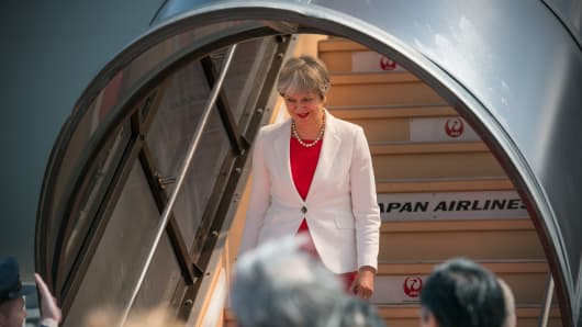 British Prime Minister Theresa May is greeted by dignitaries as she arrives in Japan on August 30, 2017 in Kyoto, Japan.