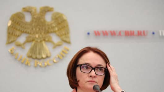 Elvira Nabiullina, Russia's central bank governor, pauses during a news conference to announce interest rates in Moscow, Russia, on Friday, June 16, 2017.