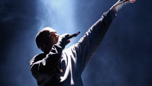Kanye West performs at the Rn. 1st Annual Roc City Classic Starring Kevin Durant x Kanye West on February 12, 2015 in New York City