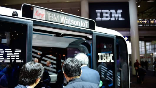 The bus 'Olli', an autonomous transportation system, is presented at the IBM stand at the CeBIT 2017 Technology Trade Fair on March 20, 2017 in Hanover, Germany.