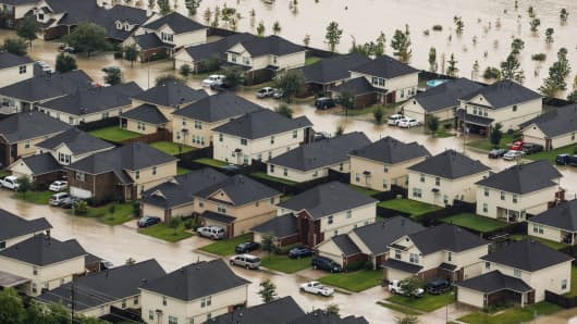 Residential neighborhoods near the Interstate 10 sit in floodwater in the wake of Hurricane Harvey on August 29, 2017 in Houston, Texas.