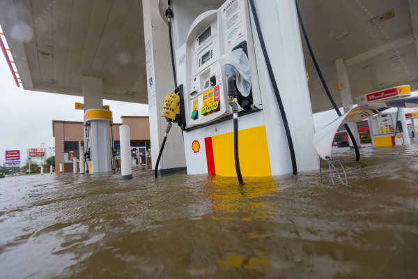 Shell gas station is underwater on intersection at Wallisville and Uvalde during Hurricane Harvey, Monday, August 28, 2017.