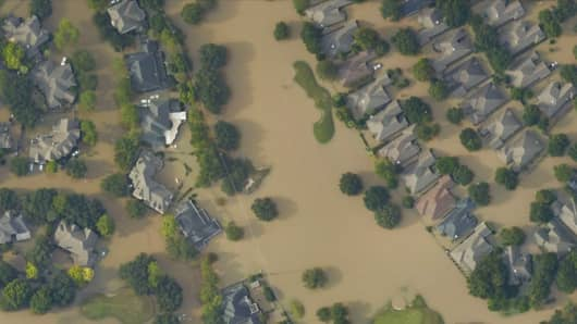 An aerial view of flood damage from Hurricane Harvey in Houston.