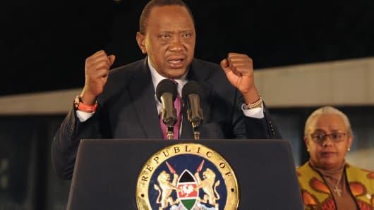 Kenya's President Uhuru Kenyatta following the election results on August 11