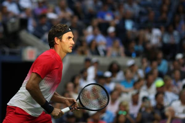 Roger Federer playing at the U.S. Open