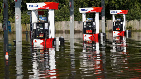 A flooded Citgo gas station is pictured as a result of Tropical Storm Harvey in Port Arthur, Texas, U.S., August 31, 2017.