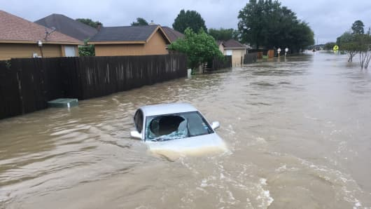 Flooding resulting from Hurricane Harvey in Houston, Texas.