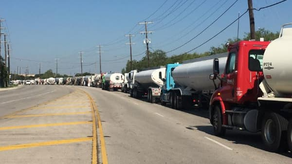 Fuel trucks in a long line at Flint Hills Resources in San Antonio.