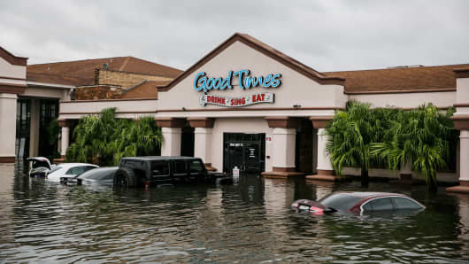 A restaurant called 'Good Times' sit in floodwater in Port Arthur, Texas, on Aug. 30, 2017.