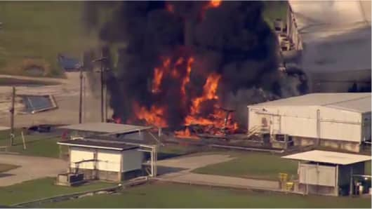 Screengrab of a video taken of a fire at the Arkema plant in Crosby, Texas, September 1, 2017.