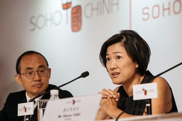 Pan Shiyi, chairman of SOHO China, and wife Zhang Xin, the company's CEO at a news conference in Hong Kong in August 2016