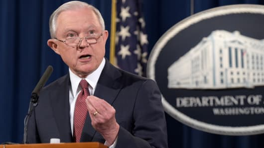 Attorney General Jeff Sessions speaks during a news conference at the Justice Department in Washington, Tuesday, Sept. 5, 2017, on President Barack Obama's Deferred Action for Childhood Arrivals, or DACA program.