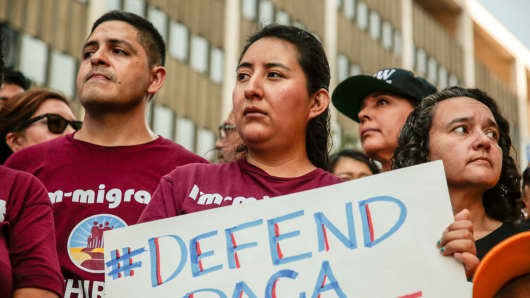 Protesters gather to show support for the Deferred Action for Childhood Arrivals (DACA) program outside the Federal Building in Los Angeles, California, September 1, 2017.