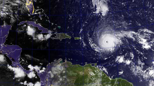 Hurricane Irma, a category 4 hurricane with maximum sustained winds near 150 mph (240 km/h) with higher gusts, is shown in this GOES satellite image in the Atlantic Ocean east of the Leeward Islands and Puerto Rico and the Dominican Republic, September 5, 2017.