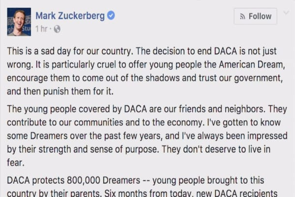 Zuckerberg says it's a 'sad day' as tech execs slam Trump for ending DACA