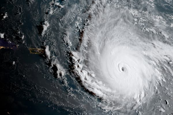 Hurricane Irma, a record Category 5 storm, is seen in this NOAA National Weather Service National Hurricane Center image from GOES-16 satellite taken on September 5, 2017.