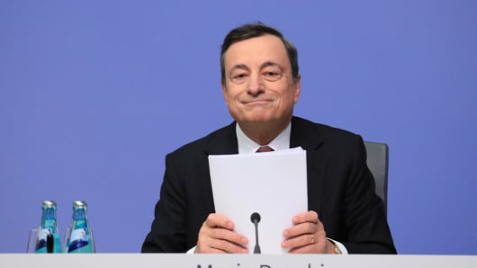 Mario Draghi, president of the European Central Bank (ECB), reacts during a news conference to announce the bank's interest rate decision at the ECB headquarters in Frankfurt, Germany, on Thursday, Jan. 19, 2017.