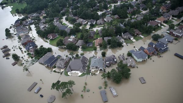 Flooded homes are shown near Lake Houston following Hurricane Harvey August 30, 2017 in Houston, Texas.