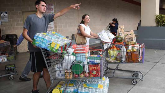 Shoppers at Costco waited up to eight hours for water and essentials in preparation for Hurricane Irma on September 5, 2017 in North Miami.