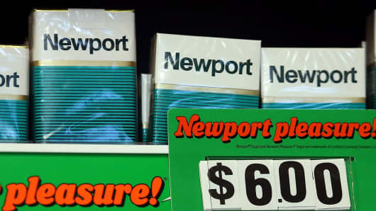 Packages of Newport cigarettes are displayed at a tobacco shop in San Francisco.