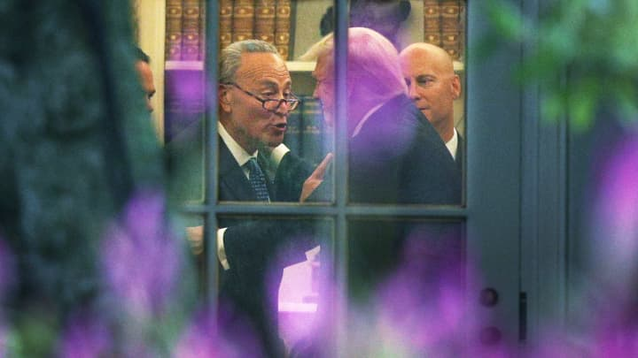 Senate Minority Leader Chuck Schumer (D-NY) (L) makes a point to President Donald Trump in the Oval Office prior to his departure from the White House September 6, 2017 in Washington, DC.