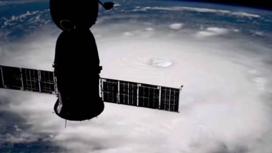 The International Space Station's external cameras captured a dramatic view of Hurricane Irma as it moved across the Atlantic Ocean Sept. 5.